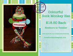 Rainbow Sock Monkey Hat by LovewhorlsKnits on Etsy