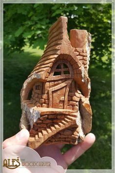 """This must be the smallest house I carved this year, it is named """"By the Mossy Lake"""" Clay Fairy House, Gnome House, Fairy Houses, Clay Houses, Wood Houses, Dad Crafts, Wood Bark, Tree Carving, Wood Carving Patterns"""
