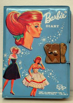 Vintage 1964 Blue Vinyl Barbie Swirl Ponytail Diary