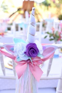 Unicorn horn + tail favors from a Pastel Unicorn Themed Birthday Party via Kara's Party Ideas | KarasPartyIdeas.com (35)