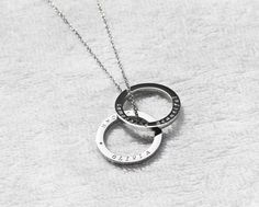 Hand engraved two circle name necklace,custom two ring roman numerals date necklace,personalized coordinates necklace,gift for Circle Necklace, Name Necklace, Roman Numerals Dates, Perfect Image, Resin Pendant, Love Photos, Hand Engraving, Gifts For Friends, Unique Jewelry