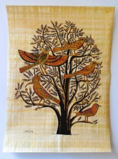 """Ancient Egyptian Art on Egyptian Papyrus. Unique Handmade Art For Sale at arkangallery.com   Title: """"Tree of Life""""   Size: 12"""" x 16""""   www.arkangallery.com"""