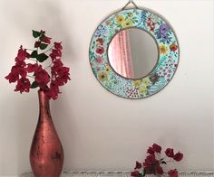 Country cottagecore mirror, boho floral decorative wall art, multi floral handpainted mirror, watercolor flower wall art, country decor