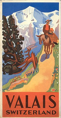 1935 travel brochure. Valais, Switzerland