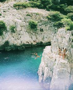 European summer france calanques de marseille cassis cliff jumping summer vacation