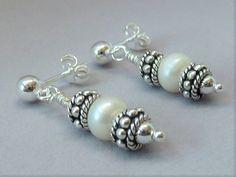 Sterling Silver & Pearl Earrings  1 in by JewelryDesignsByKara