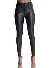 Ecupper Womens Faux Leather Look Trousers High Waisted Coated Stretch Skinny Jeans Petite/Regular/Tall, Inside Leg 26 29 32 Inches Leather Leggings Plus Size, Black Leather Pants, Faux Leather Leggings, Black Tights, Black Leggings, Black Pants, Leggings Are Not Pants, Leather Trousers, Denim Coat