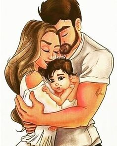 Cute Couple Drawings, Cute Couple Art, Girly Drawings, Family Sketch, Family Drawing, Mother Daughter Art, Mother Art, Love Cartoon Couple, Cute Love Cartoons