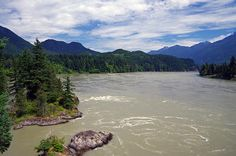 Looking north up the mighty Fraser River from the bridge crossing near Hope BC.