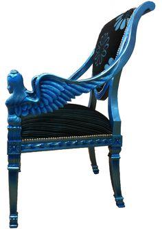 Jacobean Angel Arm Chair in Metallic Blue - Focus on Design