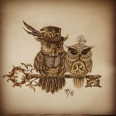Steampunk art is often filled with clockwork elements, mostly depicted in yellow metals such as brass. Steampunk tattoos are very rare, and . Couple Tattoos, Love Tattoos, Beautiful Tattoos, Body Art Tattoos, Tattoos For Women, Tatoos, Fish Tattoos, Owl Tattoo Design, Tattoo Designs