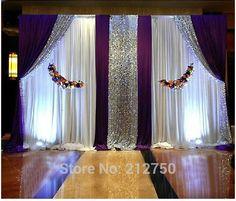 Hauteur de 3m * décorations cérémonie 6m de large de mariage Violet Paillettes blancs signent rideaux tableau toile de fond