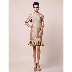 Sheath/ Column Strapless Knee-length Taffeta Lace Mother of the Bride Dress With A Wrap – USD $ 179.99