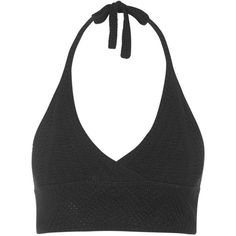 TOPSHOP Knitted Halterneck Bralet ($6) ❤ liked on Polyvore featuring tops, crop top, shirts, black, strappy crop top, black halter top, summer crop tops, bralette crop top and plunge crop top