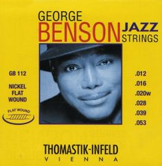 Thomastik GB112 Medium Light George Benson Custom Flatwound Guitar Strings by Thomastik. Save 43 Off!. $25.00. The G, D, A and low E strings are nickel flatwound for the perfect mellow tone and feel. Custom set designed by Thomastik-Infeld for George Benson.Gauges: .012 - .016 - .020(wound) - .028 - .039 - .053.