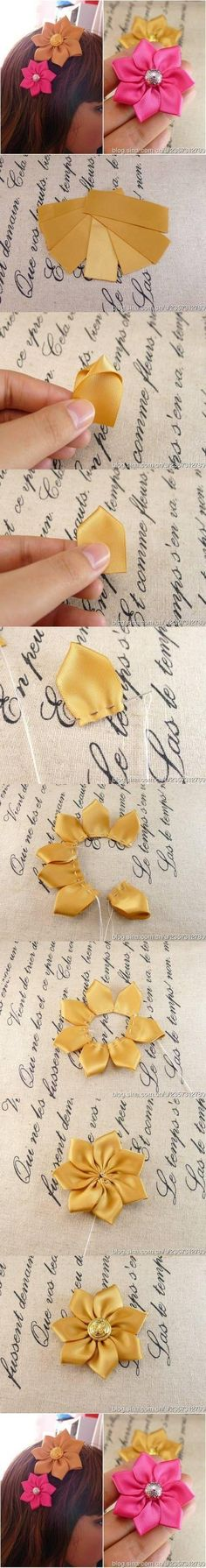 DIY Tutorial DIY Ribbon Crafts / DIY Handmade Ribbon Flowers - Bead&Cord