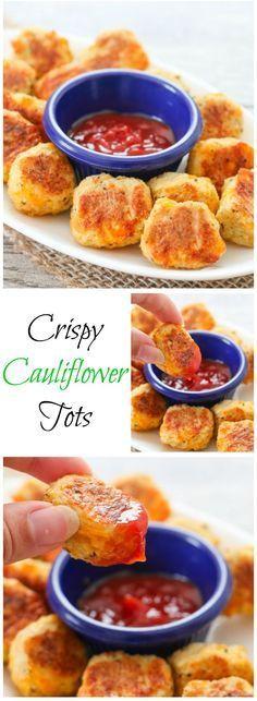 Crispy, Cheesy Cauliflower Tots. You won't miss the potato! #snacks #healthy