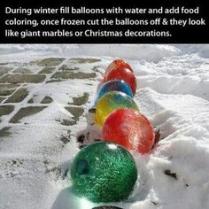A must try Christmas decorations made by freezing balloons filled with colored water! Great kid activity