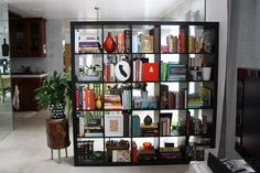 Why does my expedit bookcase not look this chic? (Oh b/c I crammed it full of paper backs. Check. But some day maybe I'll make it look this nice)