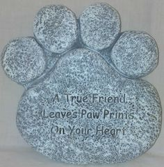 Paw print memorial stone for dogs and cats.