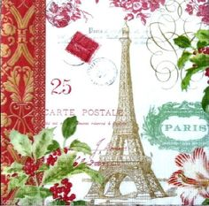 Set of 4 single napkins -Quality Paper Napkins. Eiffel Tower Art, Christmas Decoupage, Christmas In Paris, Paper Napkins For Decoupage, Paris Images, Vintage Table, Craft Party, Vintage Postcards, Party Time