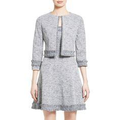 Women's Oscar De La Renta Crop Jacquard Jacket (19.819.970 IDR) ❤ liked on Polyvore featuring outerwear, jackets, tailored jacket, cropped jacket, ruffle jacket, oscar de la renta jacket and oscar de la renta