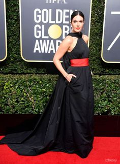 37148020810 Mandy Moore Black Satin Halter Neck with Red Band Court Train Prom Dress  2018 Golden Globe
