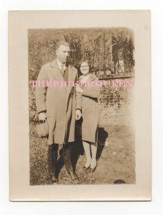 Antique Vintage Photograph~Man Woman~Couple~Outside~Trees~Wall~Canton, GA