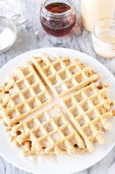 Get into the holiday spirit with Eggnog Waffles | via Recipe Runner