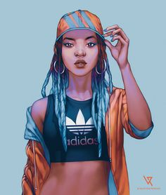 Adidas + video by valentina-remenar on deviantart drawings art, black girl Black Girl Art, Black Women Art, Black Girl Magic, Black Girls, Black Art, Character Inspiration, Character Art, Deviantart Drawings, Illustration Mode