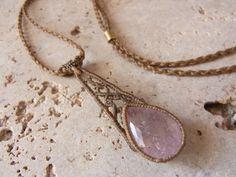 Macrame rose quartz pendant