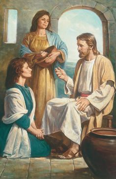 Mary and Martha. Love this painting and the story it depicts- a gentle reminder that no matter how many things there are to do, there should still be time for the Savior and interalizing His teachings.