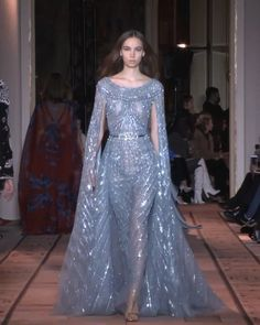 Embroidered Soft Blue Evening Maxi Dress / Evening Gown with long Sleeves. Runway Show by Zuhair Murad. Pretty Prom Dresses, Prom Dresses Long With Sleeves, Elegant Dresses, Haute Couture Dresses, Couture Fashion, Runway Fashion, Jw Moda, Fantasy Gowns, Gala Dresses