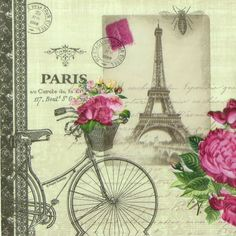 "4x Single Table Paper Napkins for Party, Decoupage, Craft ""Vintage Vélo Paris"