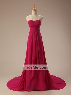 Hot Pink Sweetheart Pretty A-Line Ruched Bodice Chapel Train Cheap Long Prom Dress Evening Dress Bridesmaid Dress