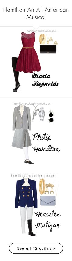 Hamilton An All American Musical by sophia-makes-things on Polyvore featuring Hue, M&Co, Balmain, Repossi, Jennifer Zeuner, Mateo, Gucci, Carven, GANT and Journee Collection