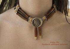 """collier amerindien perles corne """" Akecheta"""" : Collier par tendances-ethniques-creations"""