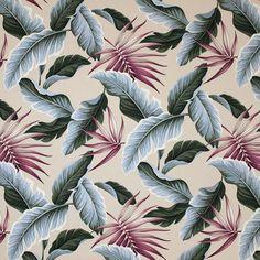 "Molokini Hawaiian print fabric in color natural on base cloth of 100% cotton bark crepe. Repeats: H-31.5"";  V-23.25"""