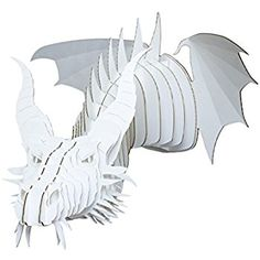 Amazon.com: Cardboard Safari | Cardboard Dragon Taxidermy Art 3D Model Puzzle | SFI Certified Recycled Cardboard| Made in the USA | Nikita (Small, White): Home & Kitchen