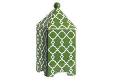 Love this geometric green and white stoneware container. Would be a perfect way to glam up your bathroom shelves!