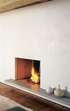 minimalist fireplace in foyer Home Fireplace, Modern Fireplace, Fireplace Design, Fireplaces, Scandinavian Fireplace, Simple Fireplace, Concrete Fireplace, Traditional Fireplace, Fireplace Hearth