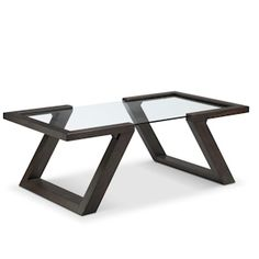 VISBY T4505 RECTANGULAR COCKTAIL TABLE Visby's zig-zag design is totally eye-catching in an unobtrusive way. A chic centerpiece in an Espresso finish and tempered glass. This striking table collection would make an appealing addition to any living space.