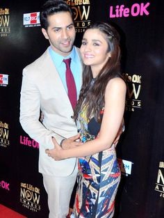Varun Dhawan and Alia Bhatt at the 'BIG Life OK Now' awards function.