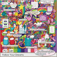 Daisies & Dimples Follow Your Dreams {PU/S4H} [BGD_PU_Dreams] - Filled with rainbows, splashy colors, inspirational quotes and so much more, this kit is perfect for projects about the dreams that have come true and the dreams you are still hoping for.The color palette includes white as well asbright shades of red, orange, blues, purple, pink, green and yellow. This huge