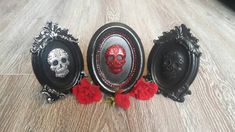 Small fancy/oval standing frame with plaster of paris Sugar skull in centre. Day of the dead gothic decor Plaster Of Paris, Frame Stand, Tree Decorations, Sugar Skull, Black Silver, Fancy, Unique Jewelry, Handmade Gifts, Etsy