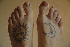 sun  moon foot tattoos