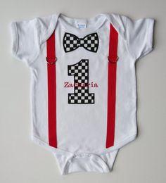 First Birthday Onesie Suspenders Personalized Checker by mamabijou, $28.00
