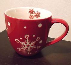 Starbucks Coffee Mug Christmas HOLIDAY 2007 Snowflakes Red White 16 Ounce SBX