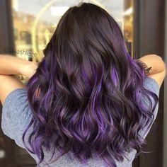 Purple Hair Highlights, Dark Purple Hair, Hair Color Streaks, Hair Color Purple, Hair Dye Colors, Hair Color For Black Hair, Cool Hair Color, Raven Hair Color, Purple Peekaboo Hair