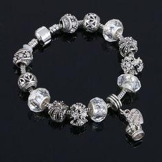 Charm Bracelets 925 Crown Pendant Crystal Ball Friendship Bracelet Lady Fashion Bracelet